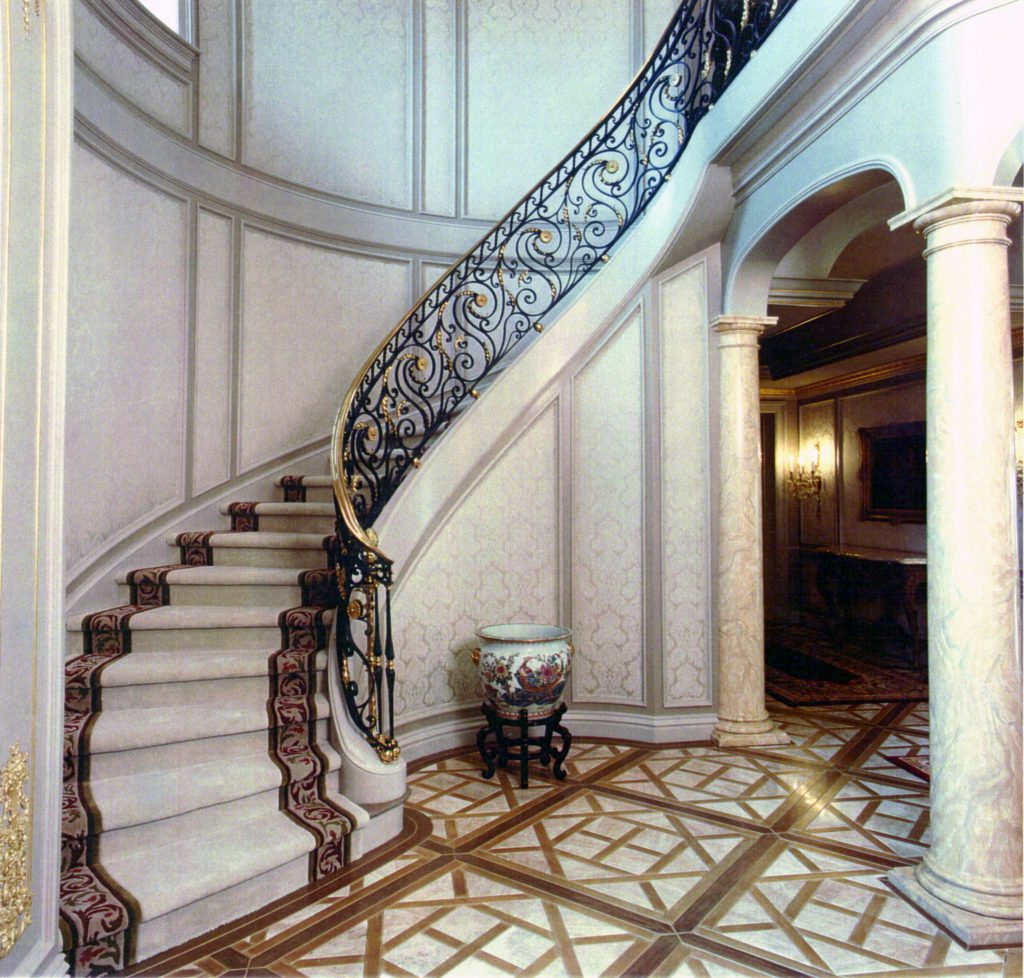 Grand Entry Forged Iron Stair Railing with Brass Cap rail