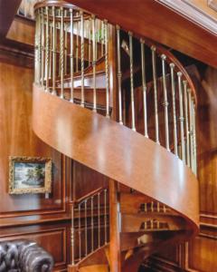 Wood Spiral Stairway with Custom Bronze Spindles